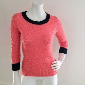 J. Crew Pink and Navy Blue Sequin Sweater